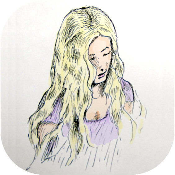 A drawing of a young lady with flowing golden locks, looking downward