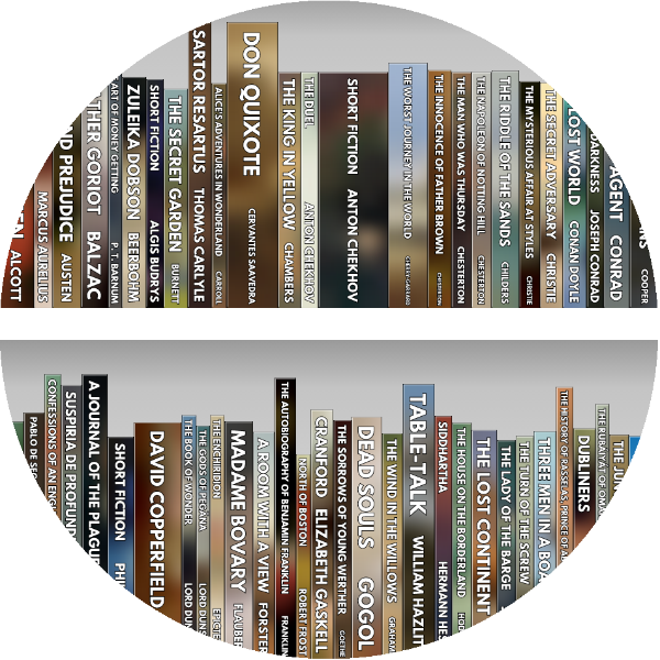 A circlular view of a colorful virtual bookshelf