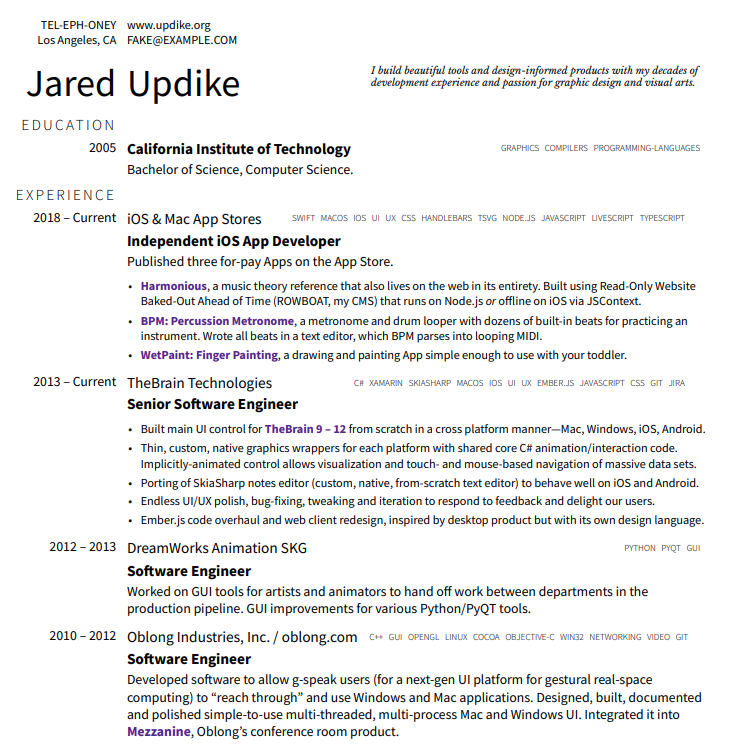 The resume of Jared Updike