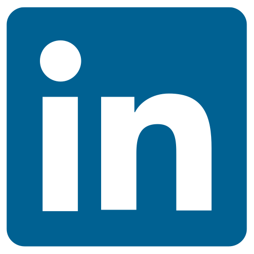 Linkedin logo of the word 'in' written in white on a blue background