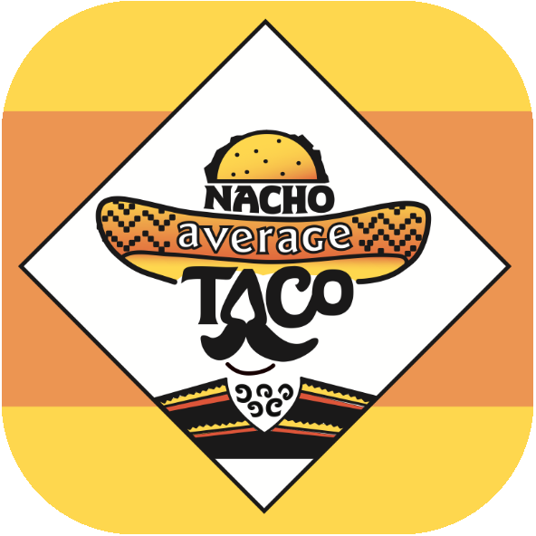 A graphical representation of a mustachioed, hairy man, wearing a sombrero with the words 'Nacho Average' on the hat and the word TACO for a face