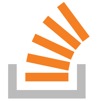 StackOverflow logo of a stack of orange shapes overflowing out of a black block