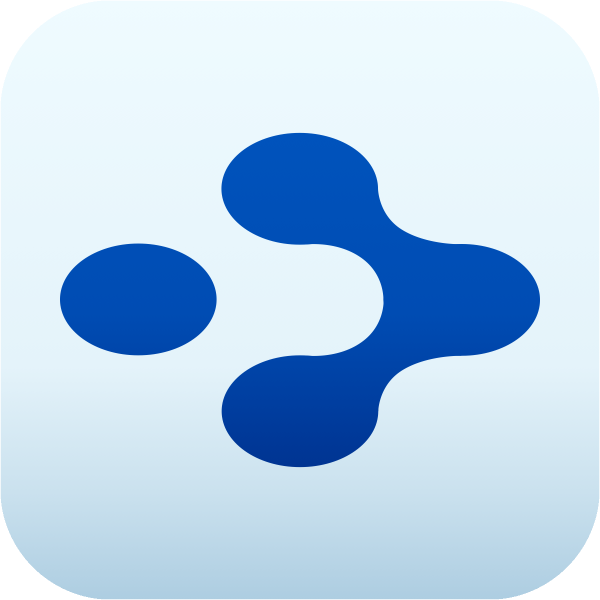 TheBrain logo, consisting of four blue blobs on a sky blue background