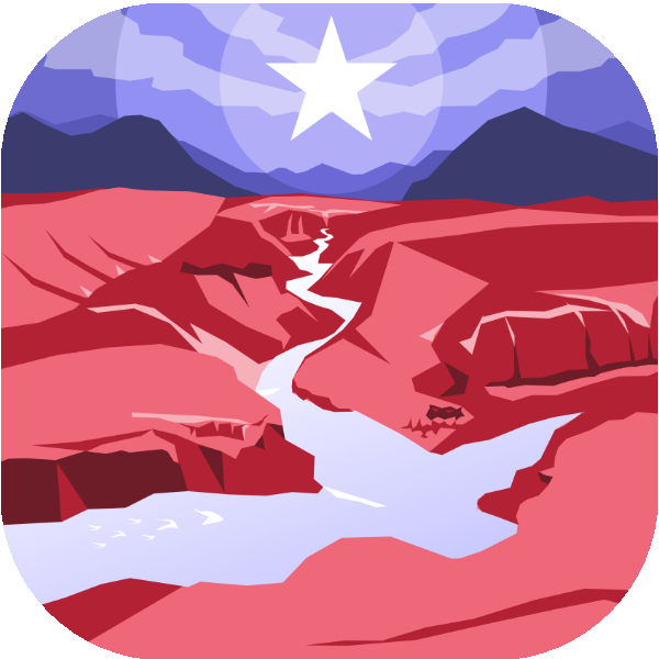 icon in red, white, and blue with a scene of a river and a single star in the sky