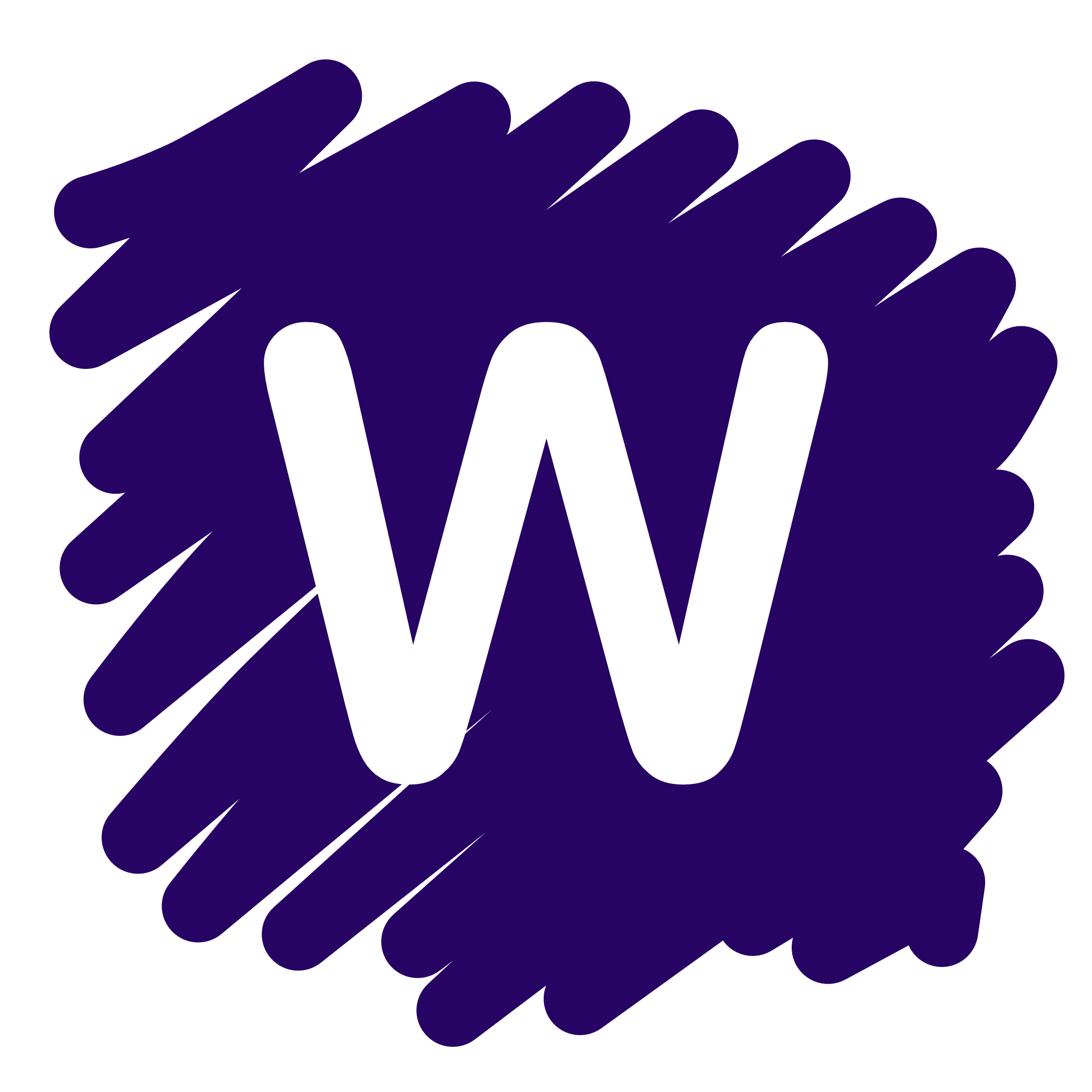 WetPaint icon, a white W on a purple finger painted squiggle of a background