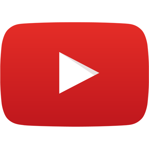 YouTube logo of a white play icon (rightward facing triangle) on a red cathode-ray-tube-shaped background